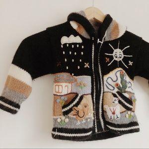 Alpaca-Blend Handmade Black Baby Sweater 12 months